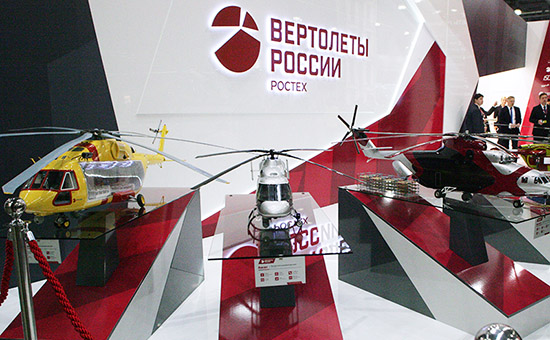 На стенде холдинга «Вертолеты России» наДевятой международной выставке вертолетной индустрии HeliRussia 2016 вМВЦ «Крокус Экспо»