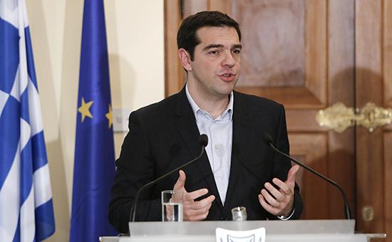 Премьер-министр Греции Алексис Ципрас на пресс-конференции Никосии