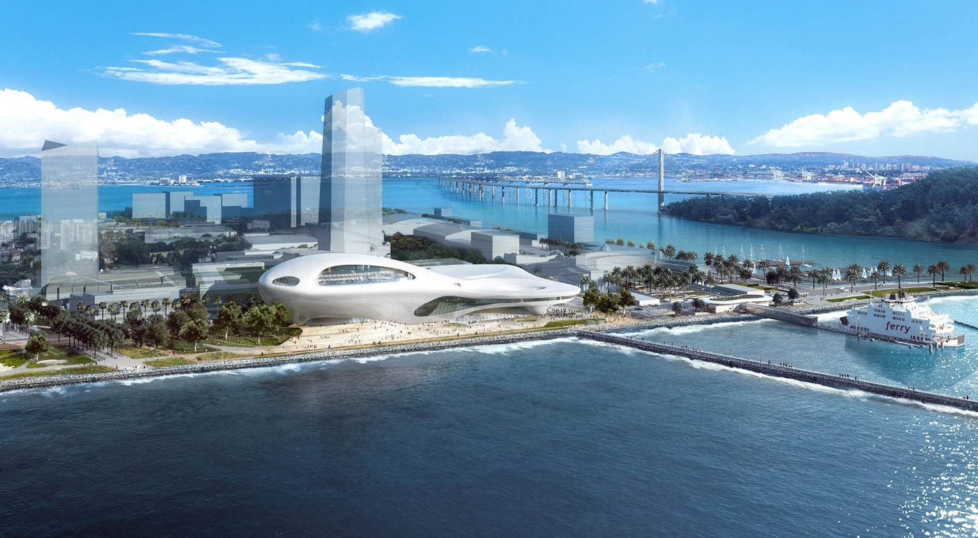 Здание наТрежер-Айленде спроектировано длястроительства напобережье—впешей доступности отпристани, гдеможно сесть напаром доматериковой части мегаполиса