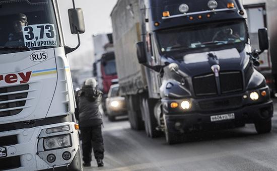 Массовая акция протеста дальнобойщиков вНовосибирске