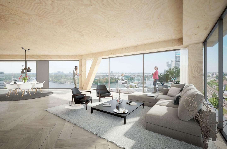 Среди 55 квартир в деревянном небоскребе будут объекты с видом на реку Амстел