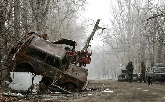 Ополченцы на улице Донецка, 16 декабря 2014 год