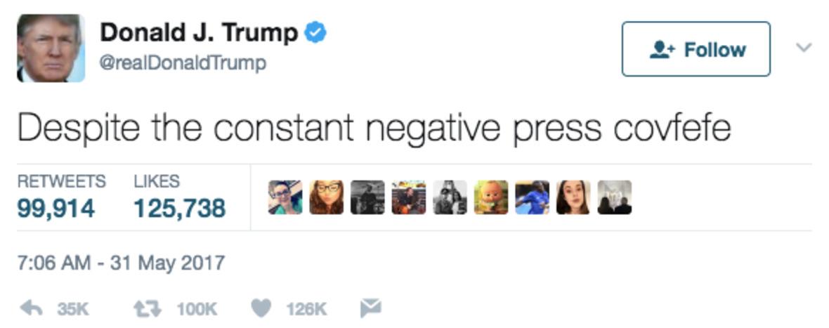 Скриншот твита, в котором Дональд Трамп, судя по всему, хотел написать что-то негативное о прессе, но опечатался и не закончил мысль. В переводе на русский твит звучит как«Несмотря на постоянное негативное covfefe в прессе».