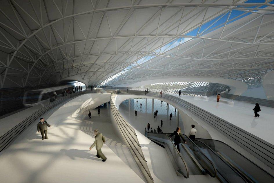 Каир, Египет  По замыслу разработчиков, каирский экспоцентр должен расположиться междуцентром египетской столицы иместным аэропортом. Здания сразу интегрированы сместным транспортом: наиллюстрации изображена станция метро, которую планируется открыть внутривыставочного комплекса