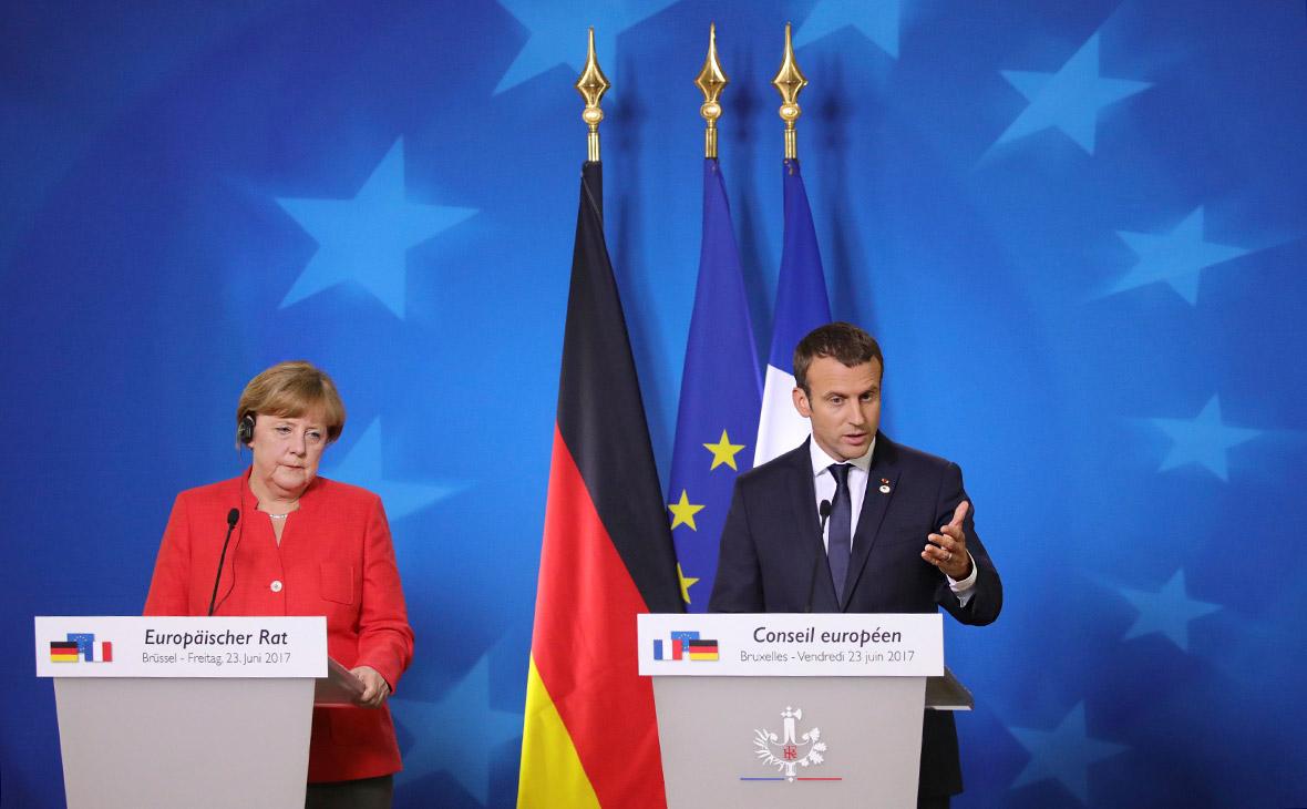 Ангела Меркель и Эмманюэль Макрон