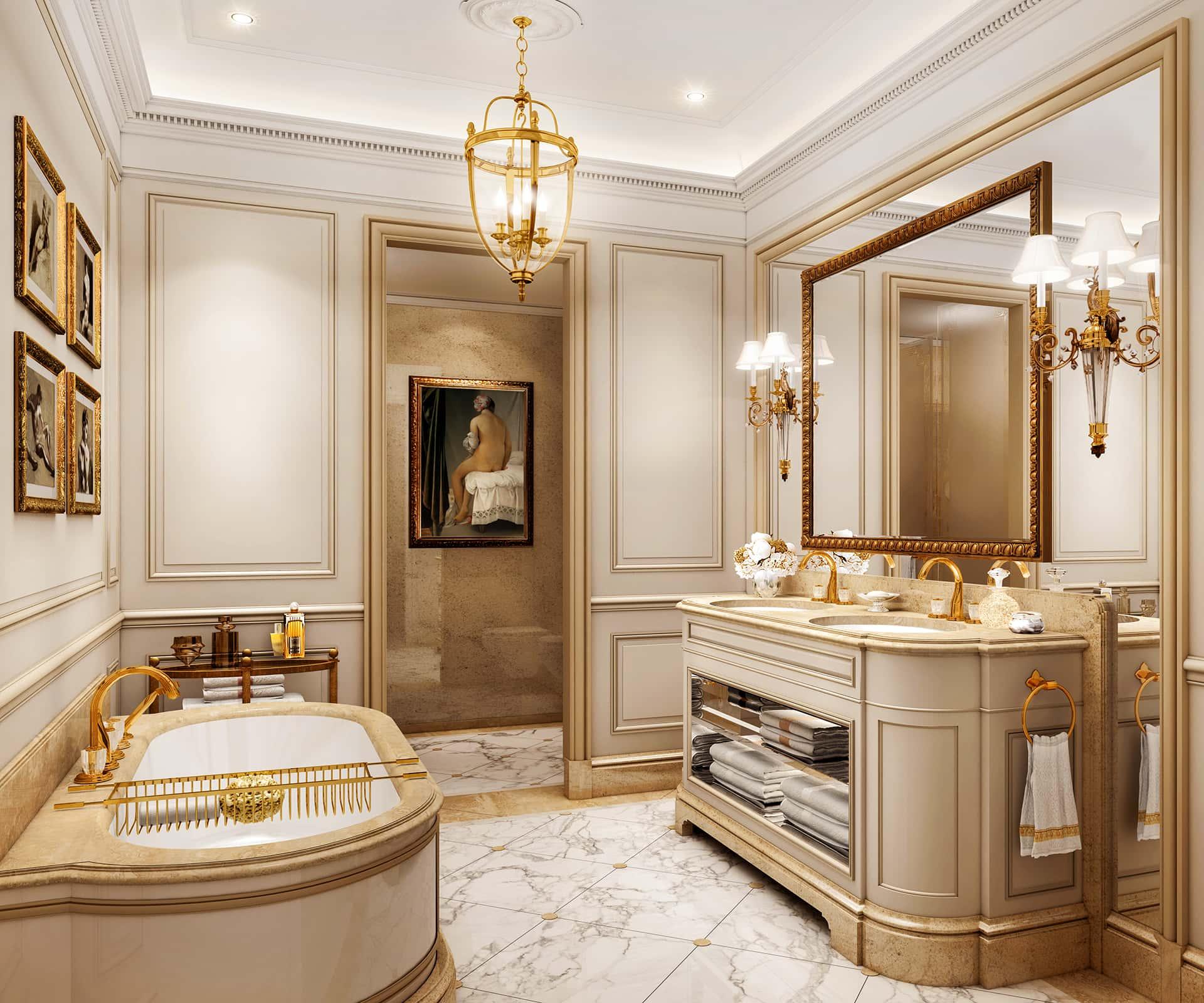 «Классический»  Цветовое решение ванной— пряные и бисквитные оттенки бежевого в сочетании с золотой фурнитурой