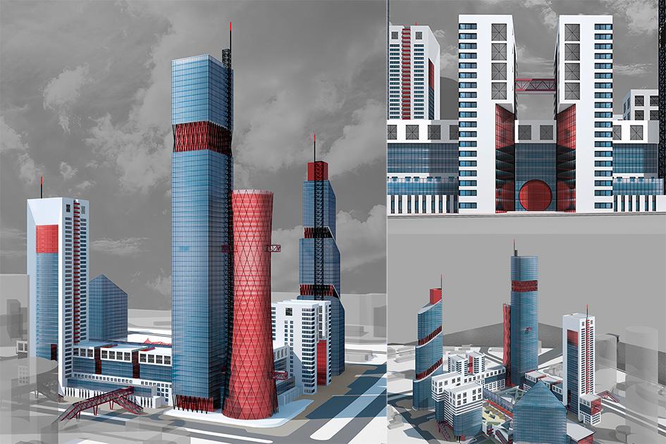 Красно-синяя фабрика  Дизайн отсылает зрителей кпроизводственному наследию Урала: офисные здания здесь выглядяттак, словноэто трубы завода илиатомной станции