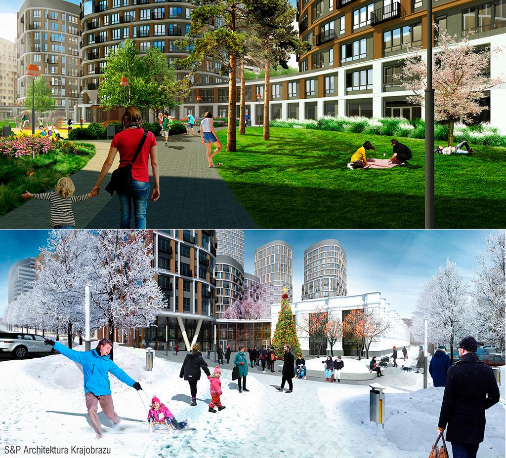 Авторы проекта решили проэкспериментировать и привлекли бюро S&P Architektura Krajobrazu для создания плавного перехода от частных придомовых территорий к публичным зонам, нетипичного для российской архитектуры
