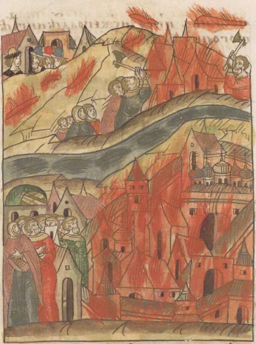 Тушение пожара. Миниатюра из Лицевого летописного свода, XVI век