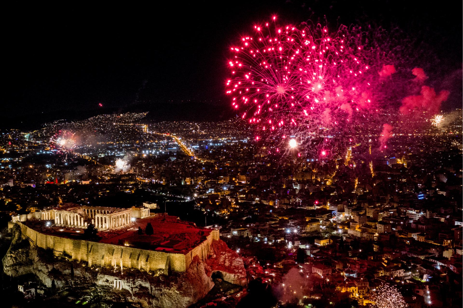 Новогодний салют в Афинах