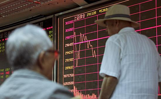 Информационное табло Шанхайской биржи