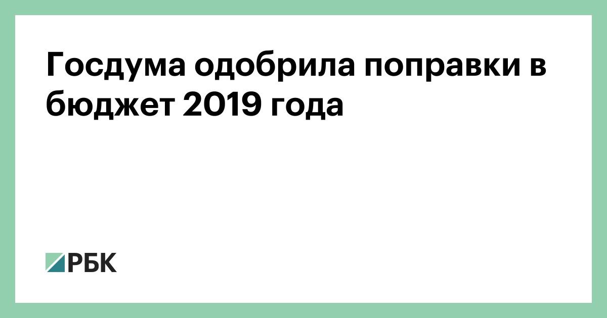 Госдума одобрила поправки в бюджет 2019 года