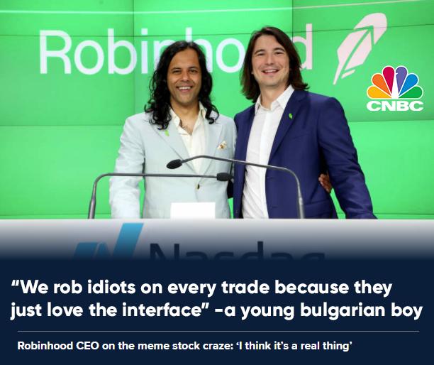 Скриншот одного из постов на Reddit. На фото: основатели Robinhood Влад Тенев и Байху Бхатт. Надпись, сделанная автором поста: «Мы обворовываем идиотов на каждой сделке просто потому, что им нравится наш [Robinhood] интерфейс».