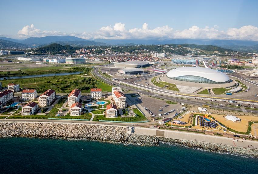 Существующий вид на Олимпийский парк, ЖК «Имеретинский» и побережье Черного моря