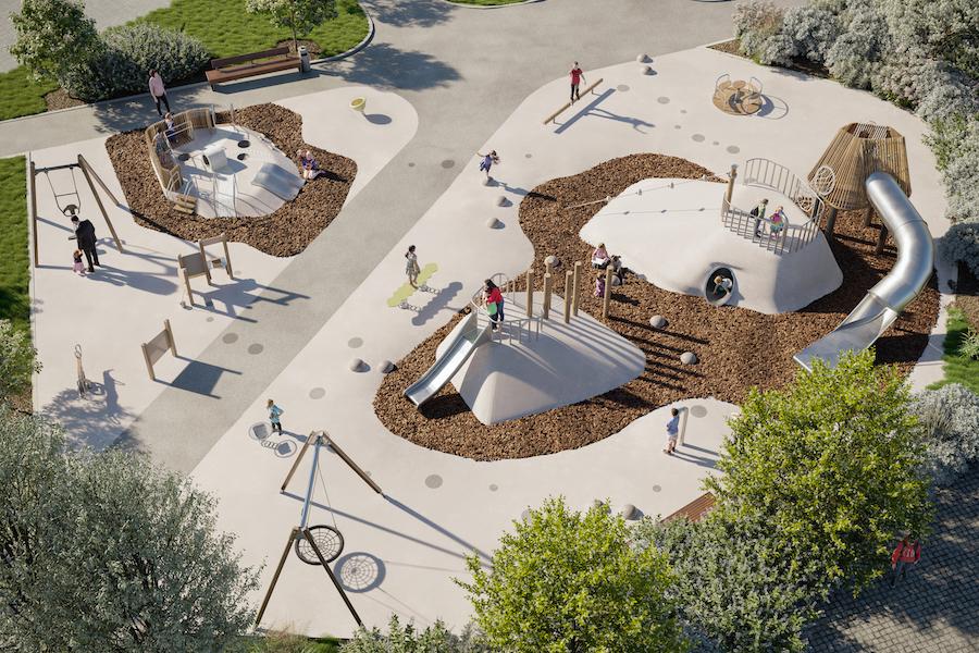 Рендер площадки «Диалог» в строящемся West Garden