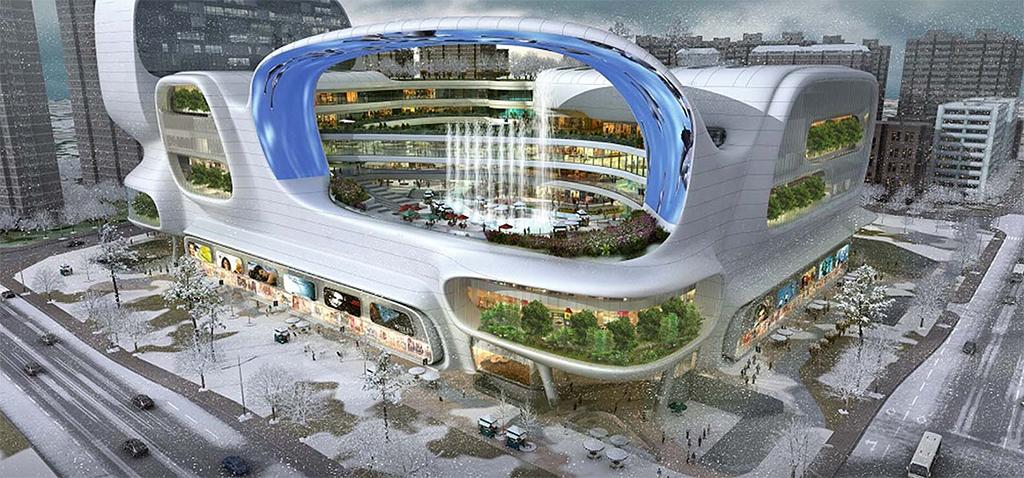 Архитекторское бюро amphibianArc спроектировало коммерческий центр, которыйбудет построен вКитае впровинции Сычуань