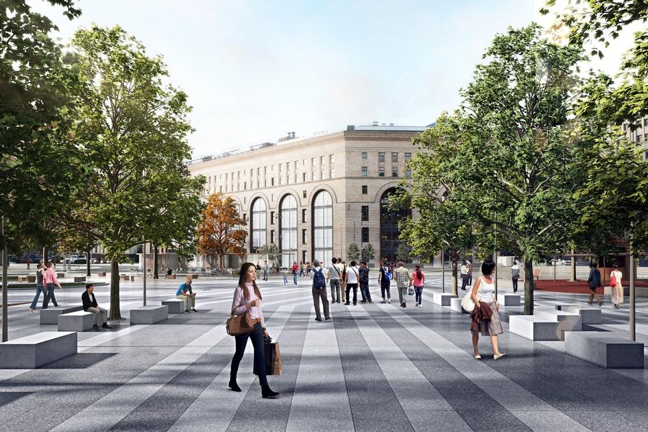 Архитекторы превратили транспортную развязку вновую пешеходную площадь, организованную наодном уровне стерриторией примыкающего сквера. После реконструкции здесь появится полноценная зона отдыха, гдеможно будет влюбое время года проводить городские фестивали, праздники иконцерты