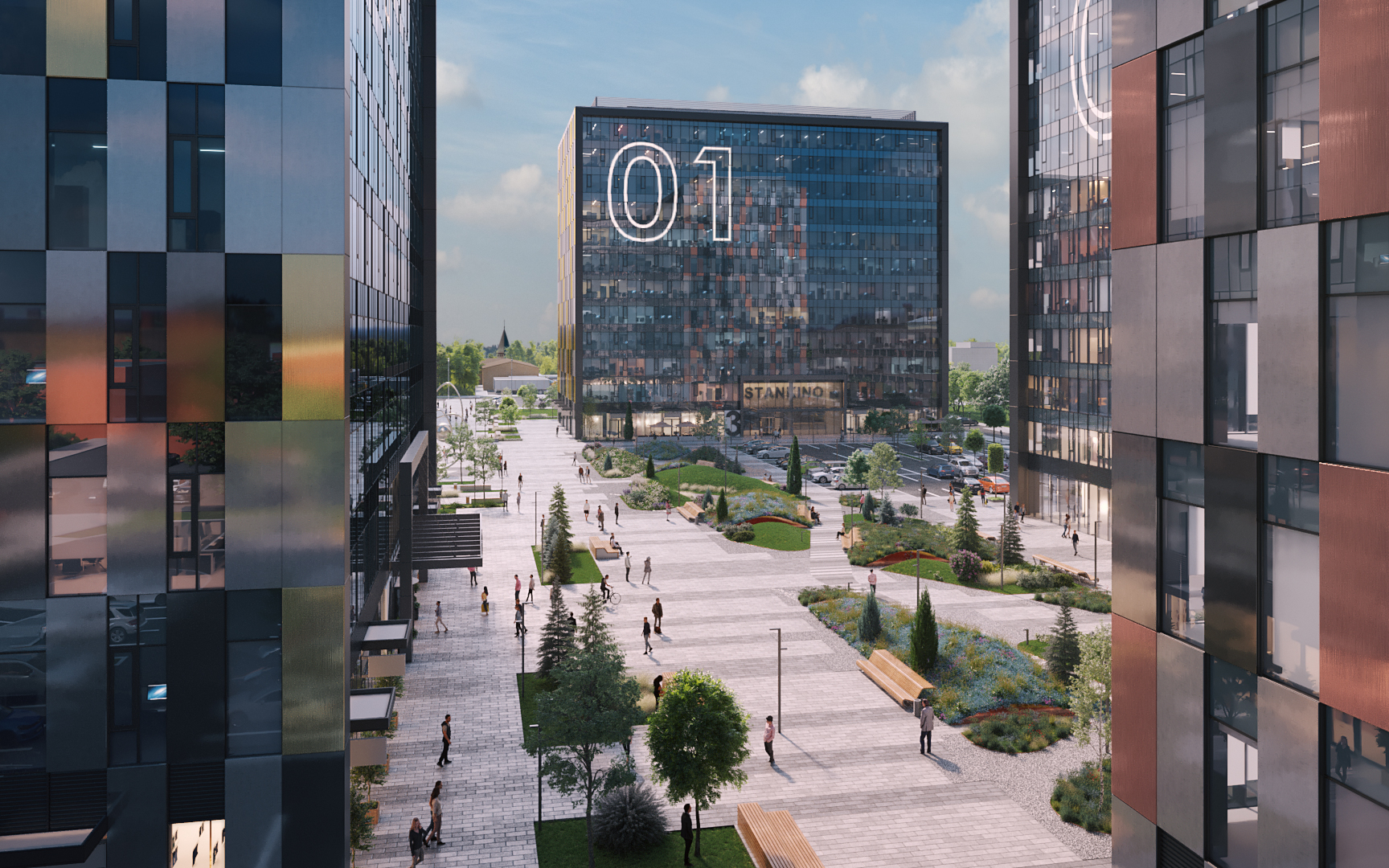 Вид на центральную площадь бизнес-парка «Останкино». Визуализация ГК «Пионер»