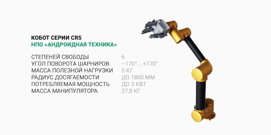 Характеристики кобота CR5. Модели CR3 и CR10 в разработке