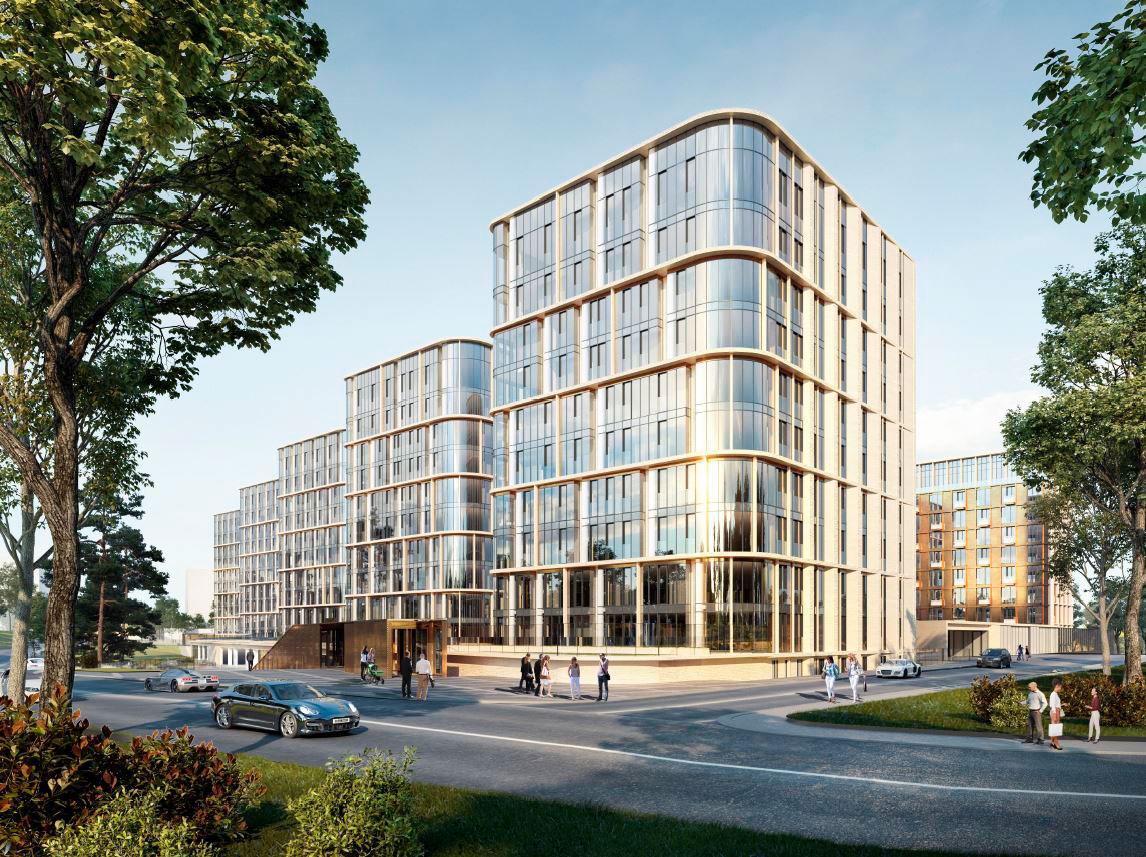 Новый комплекс на месте недостроенного океанариума будет состоять из восьми 11-этажных корпусов общей площадью около 100 тыс. кв. м (высота 40 м), внутри которых обустроят закрытый внутренний двор