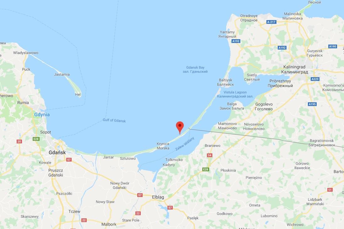 Балтийская коса на карте Google