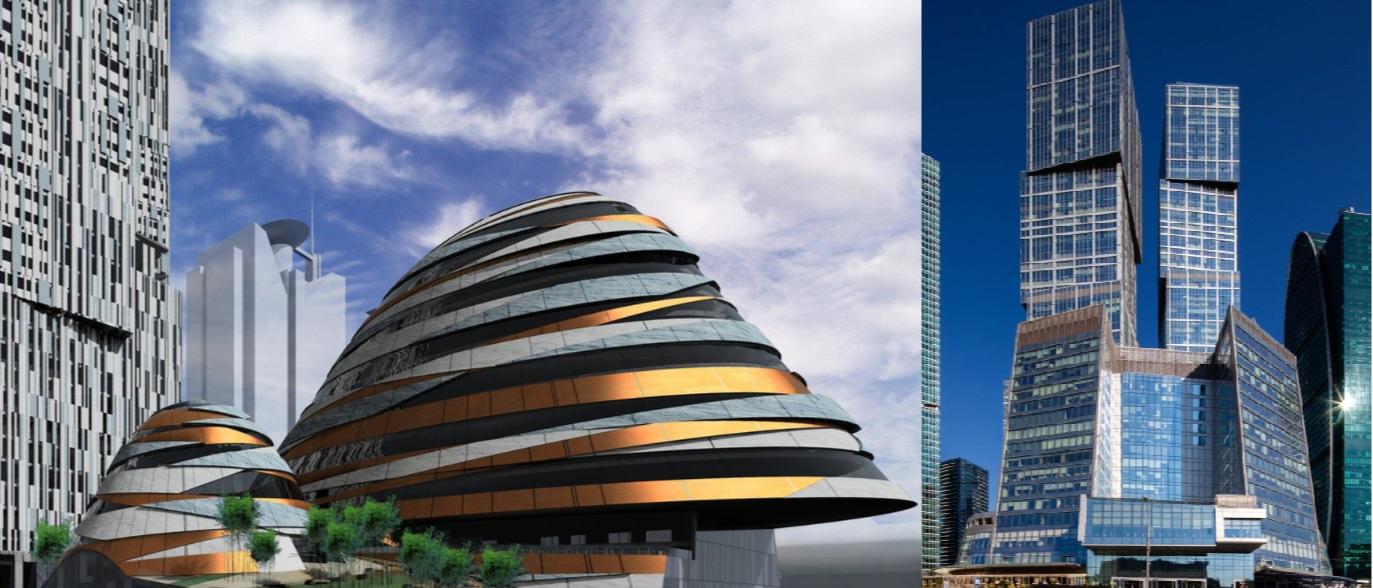 Слева — рендер проекта Capital City Эрика ван Эгерата, справа — фото объекта «Город Столиц»