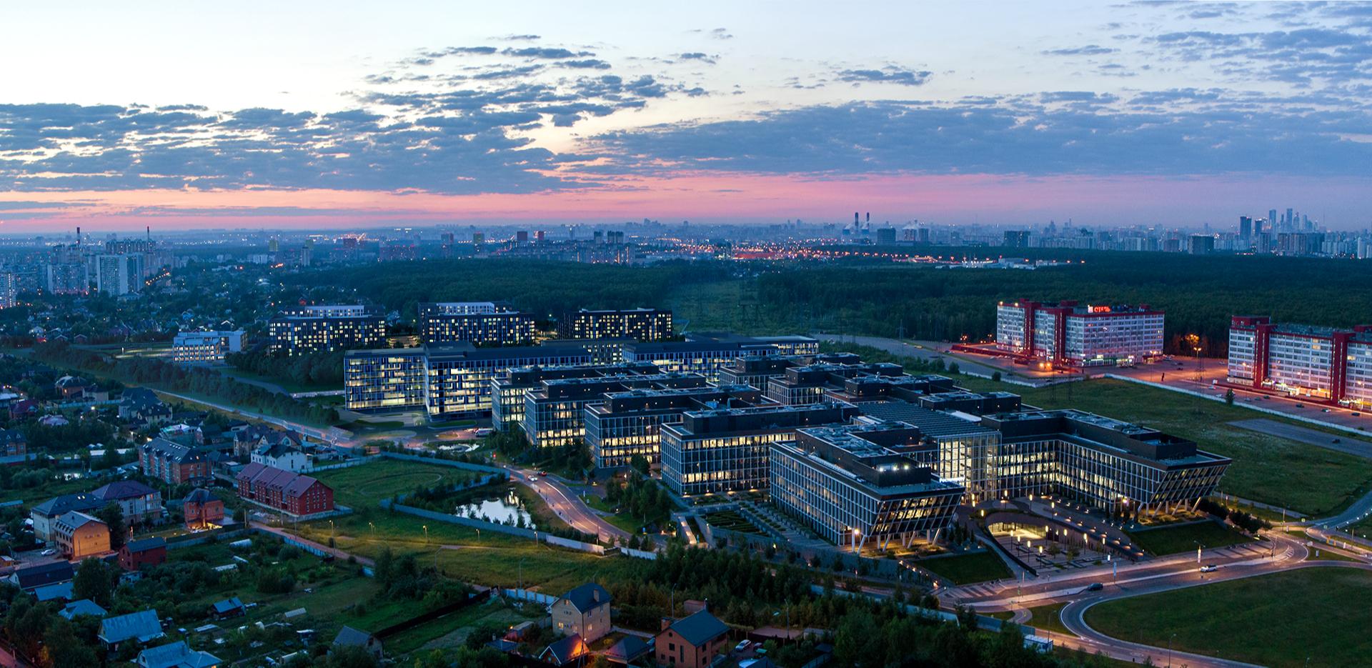 Перспективный вид на офисный парк Comcity и ЖК homecity