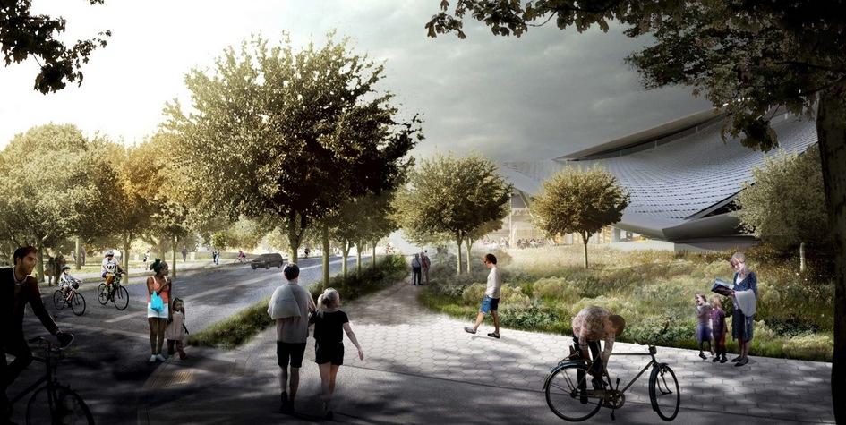 По задумке авторов проекта, сотрудники должны добираться доработы пешком либонавелосипеде — это уменьшитпробки на дорогах