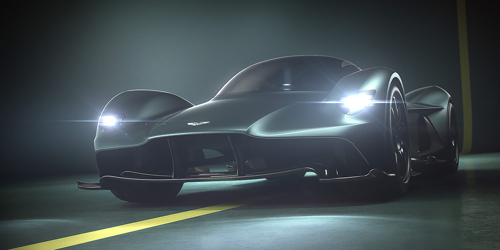 Aston Martin Valkyrie  Свой гиперкар готовит иAston Martin—среднемоторный Valkyrie создан впартнерстве сRed Bull Racing, афорсировка мотора V12 до1000л.с. поручена фирме Cosworth. C места до200 миль вчас (321 км/ч) «Валькирия» разгоняется за10с, аего максимальная скорость— 250 миль вчас (402 км вчас). Сейчас гиперкар готов на90%, аего производство начнется в2019 году. Тем неменее, на150 дорожных и25 трековых машин уже получены предзаказы.