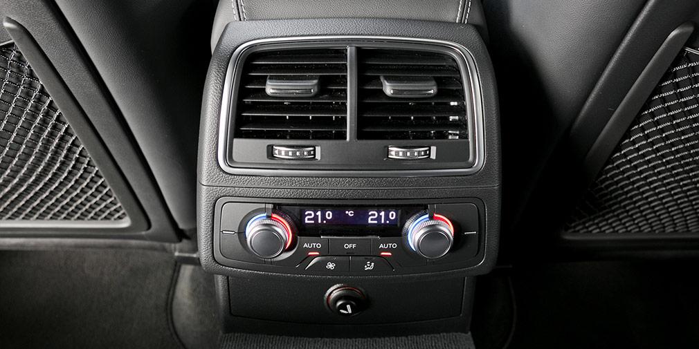 В дорогих версиях у Audi A7 предсумотрен четырехзонный климат-контроль.
