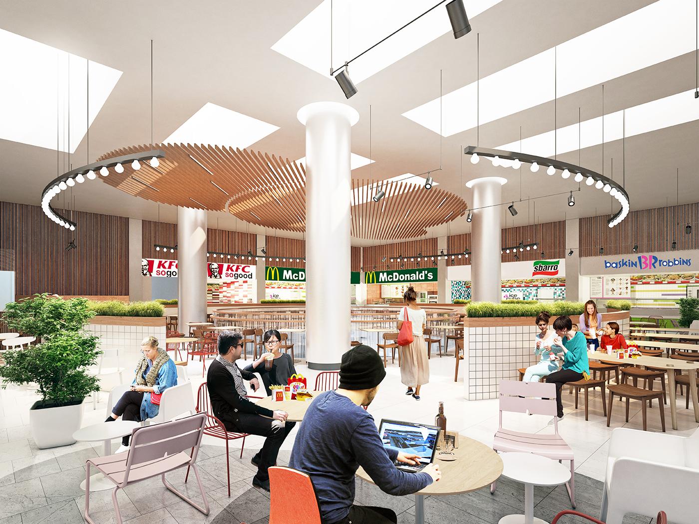 Этаж с фуд-кортами планируется заполнить зеленью и малыми архитектурными формами. Кроме того, здесь будет находиться кулинарная школа, рестораны, бары, стрит-фуд и кинотеатр