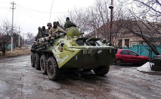 Донецкая область, бойцы ДНР на окраинах Углегорска