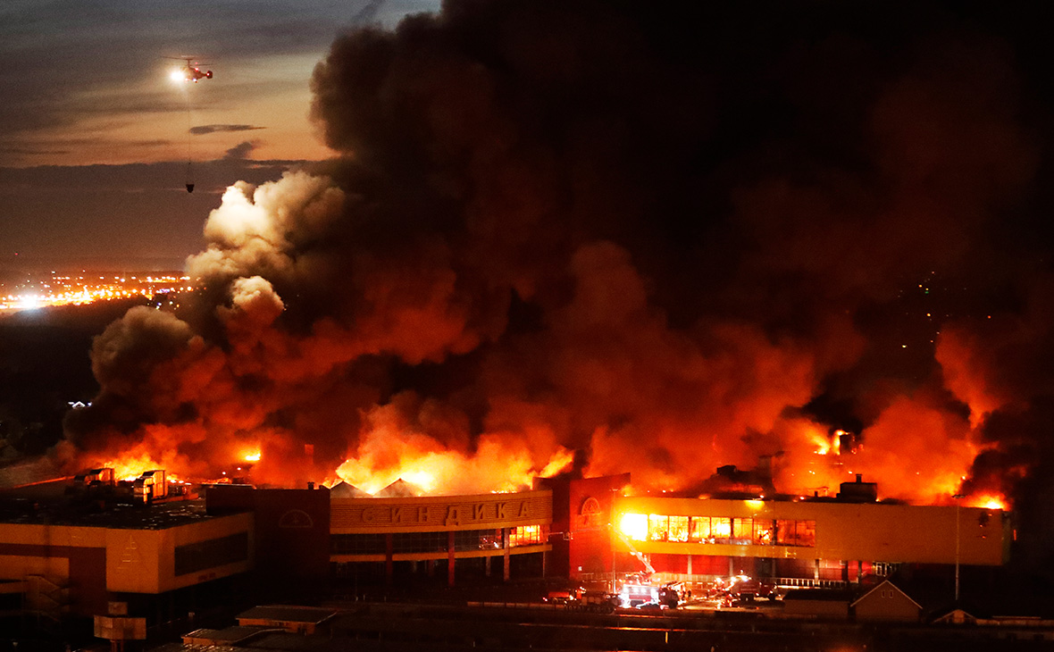 Пожар на строительном рынке «Синдика» в Москве