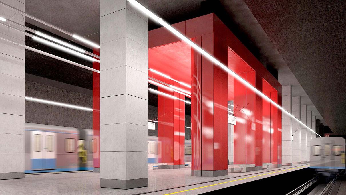 Расположение: северная часть территории Мневниковской поймы  Станция возводится на месте пока не застроенной Мневниковской поймы. В будущем рядом появится крупный жилой квартал, а также офисная и торговая недвижимость. Дизайн станции будет выполнен в серых и красных тонах с массивными колоннами