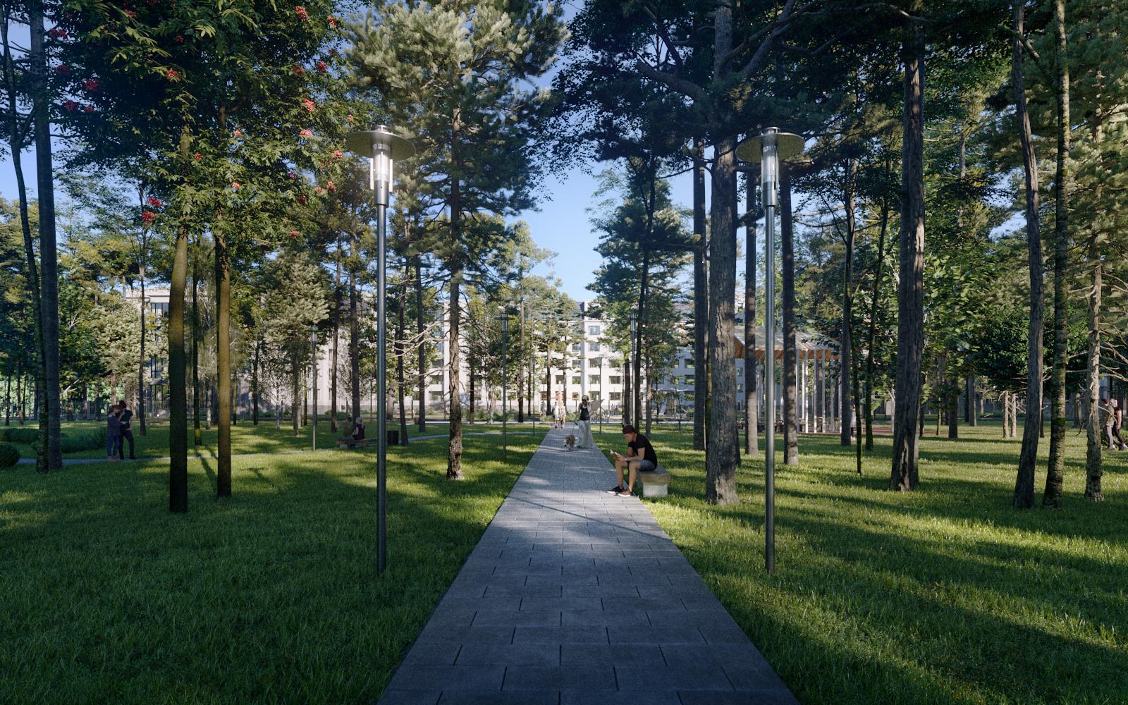 Городской парк рядом с миниполисом «8 Клёнов». Визуализация «Сити-XXI век»