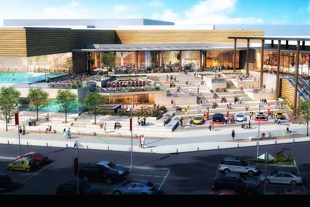 Внешний вид торгово-развлекательного центра с аквапарком