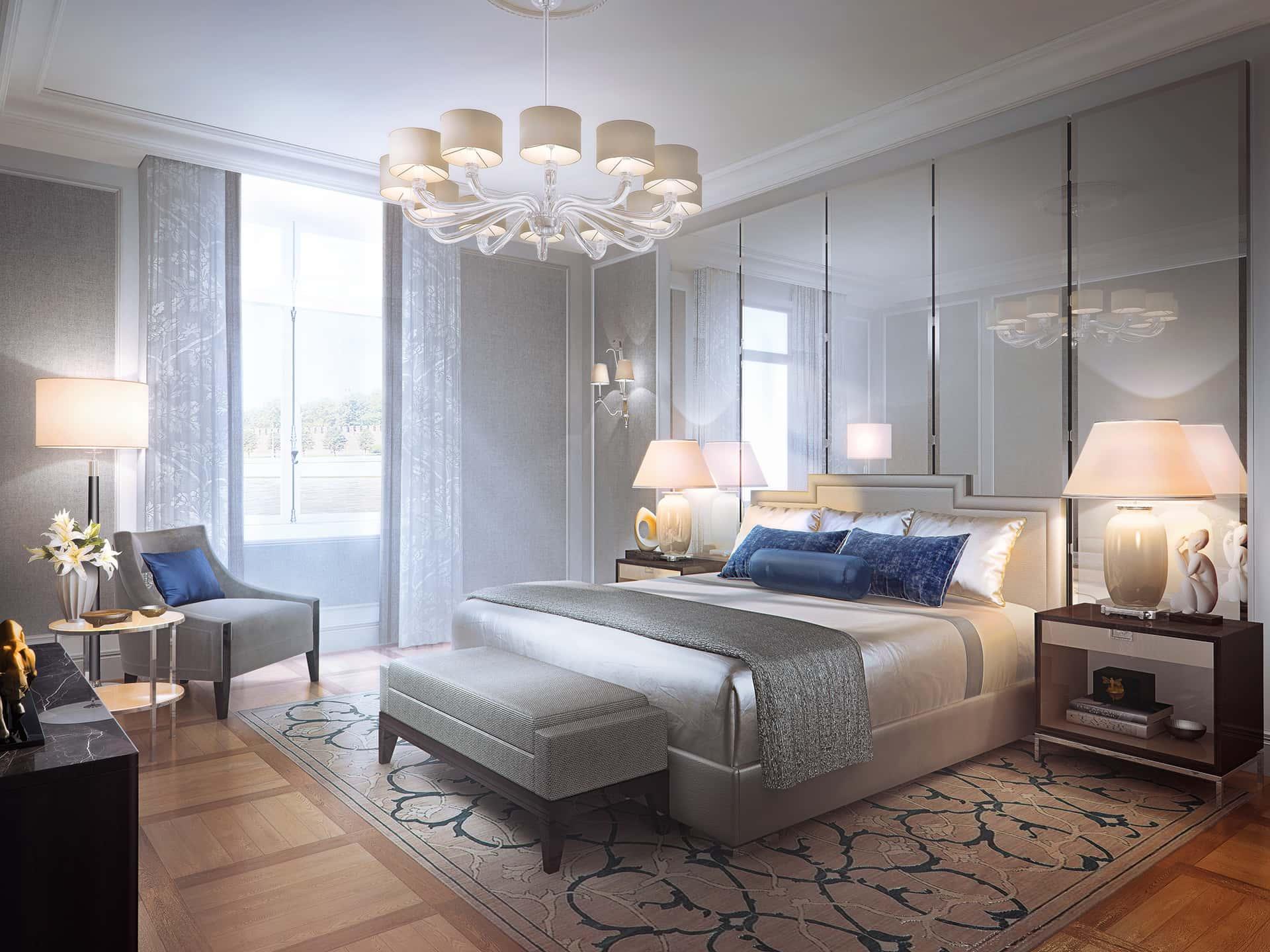 «Американский»  Стены в спальне обиты шерстяной фланелью