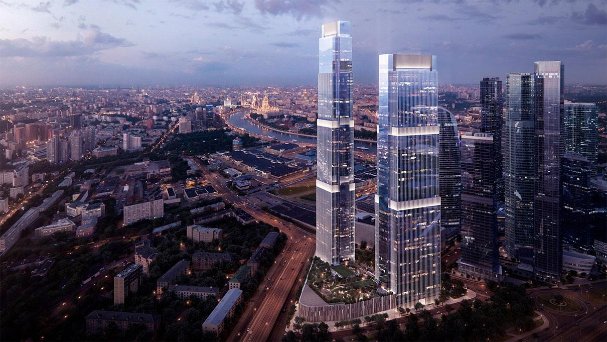 3-е место. Neva Towers  Высота — 345м  Проект Neva Towers в «Москва-Сити» состоит из двух небоскребов (65 и 79 этажей),объединенных четырехэтажным стилобатом, где расположатся торговая галерея, паркинг на 2040 мест. Концепция проекта предусматривает клубную инфраструктуру, частный парк с бассейном на кровле стилобата. 26 этажей одной из башен займут офисы, все остальные — апартаменты