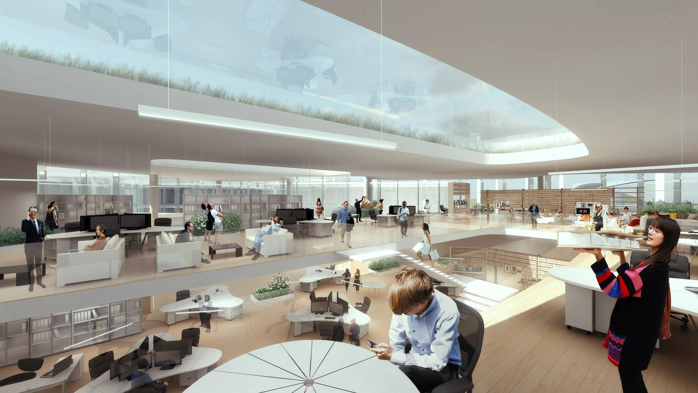 Проект офиса предполагает серию двухэтажных зданий, соединенных между собой. Стены и крыша будут стеклянными, чтобы по максимуму использовать естественное освещение и не давать зданию перегреваться