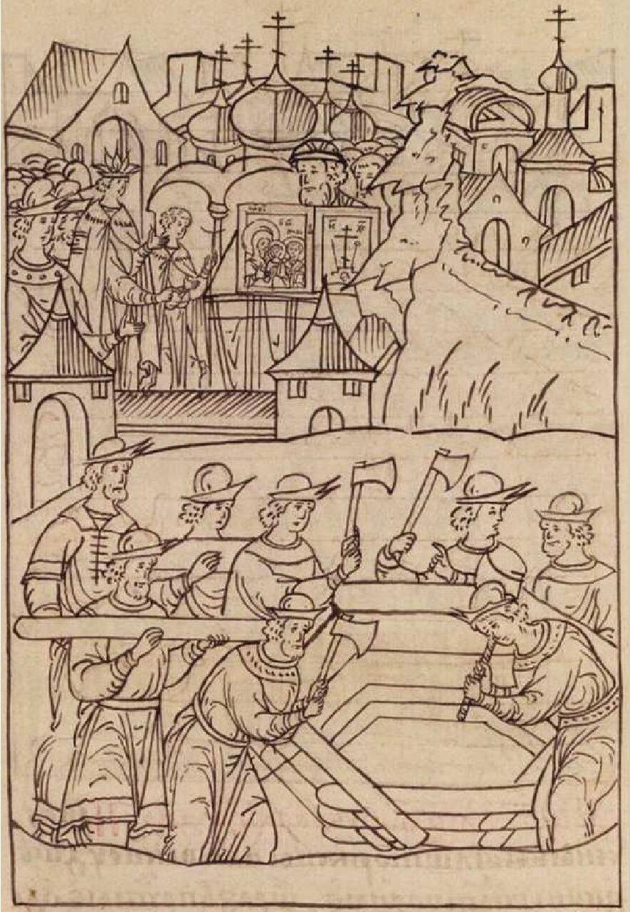 Строительство деревянной церкви. Миниатюра из Лицевого летописного свода, XVI век
