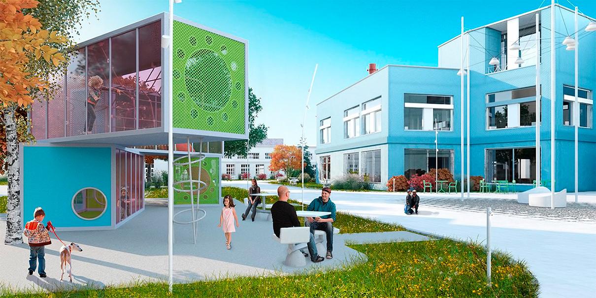 Проектный вид инновационного образовательного комплекса в «Парке знаний» на ВДНХ