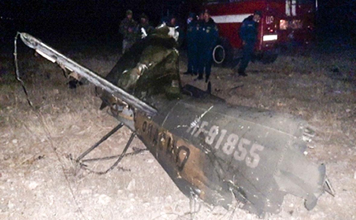 На месте крушения российского вертолета Ми-24