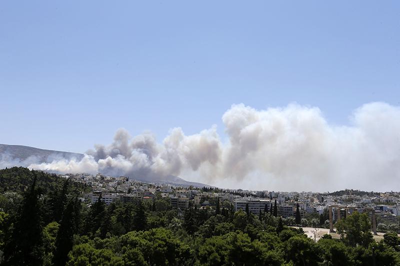 Лесной пожар на юге Греции