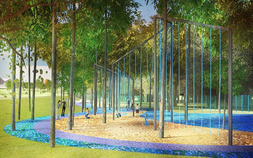 В Детском парке появятся большая песочница, веревочный городок и аттракционы для детей старшего возраста