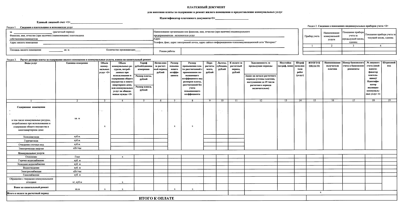 Примерная форма нового платежного документа