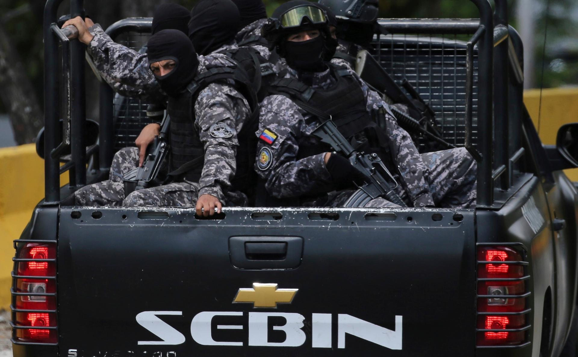 Бойцы службы нацразведки Венесуэлы (SEBIN)