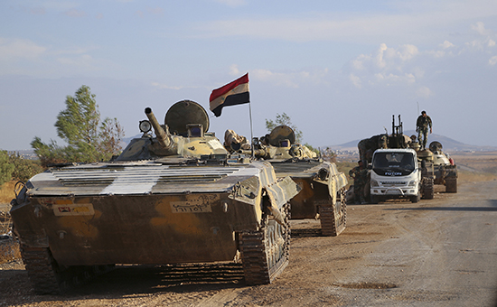 Бронетехника сирийской армии на марше