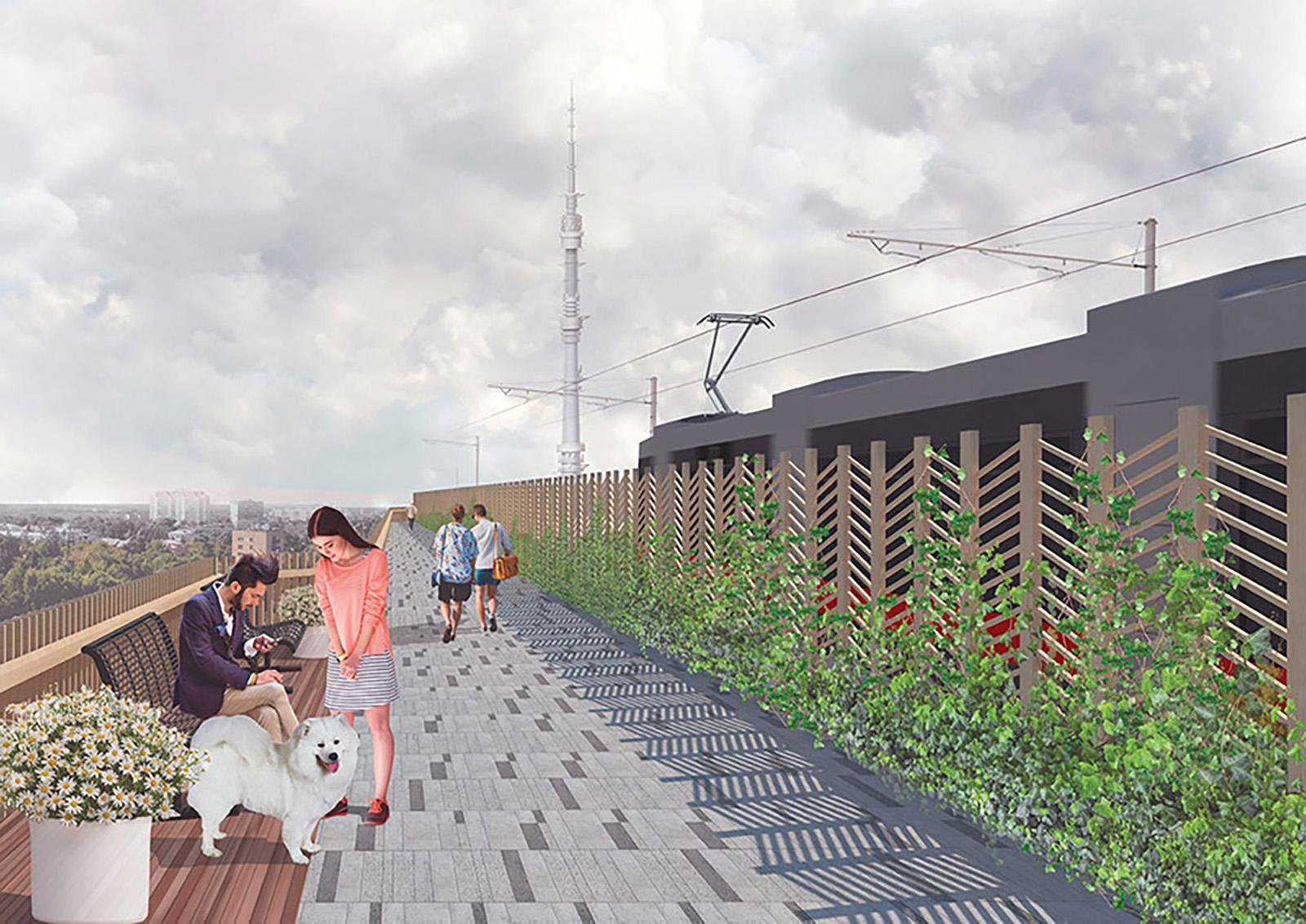 Московский монорельс соединяет станции метро «Тимирязевская» и «ВДНХ», расположенные на соседних линиях. Архитекторы предлагают спустить монорельсовую дорогу вниз и связать ее с трамвайной линией. Схожий проект реализован в Нью-Йорке, где на месте железнодорожной эстакады был создан ландшафтный парк «Хай-Лайн» протяженностью 2,3 км