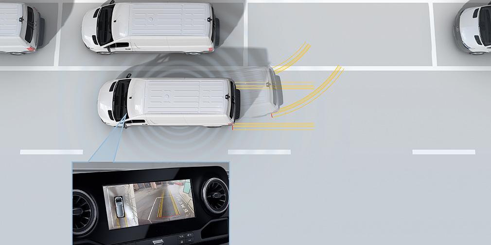 О наличии системы автопарковки (как, например, у Volkswagen Crafter) не сообщается. Картинка с камеры выводится на центральный экран или на сектор салонного зеркала.