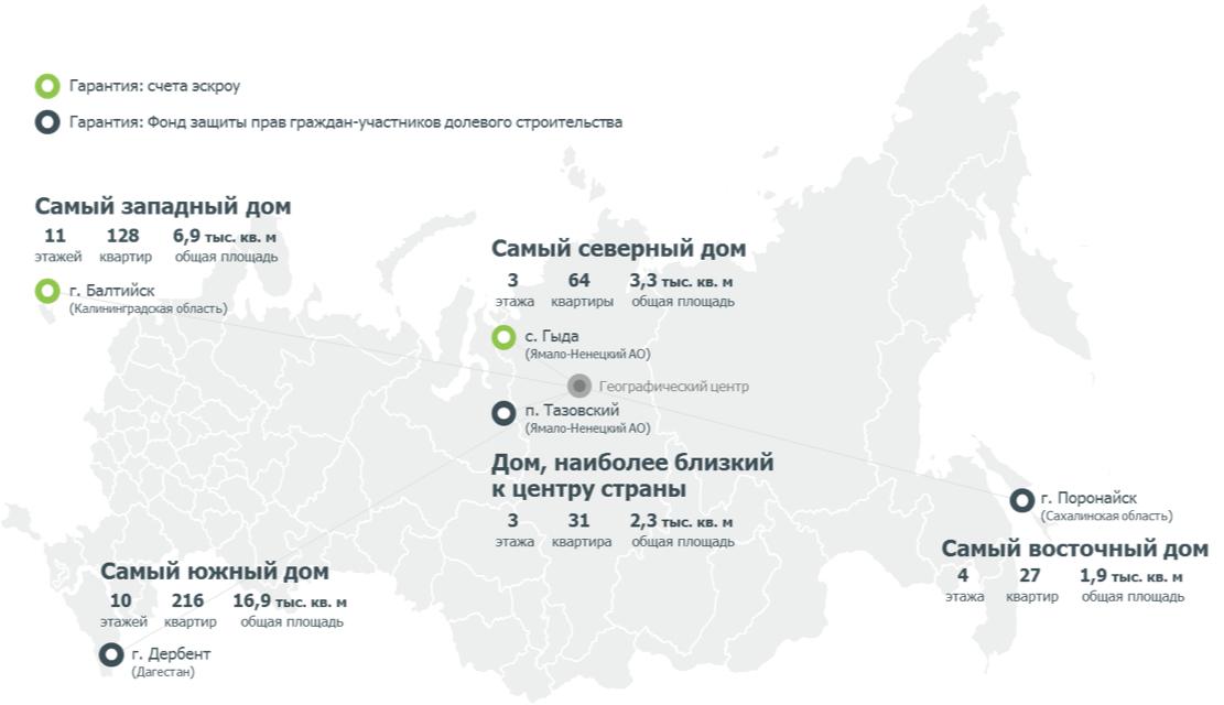 Крайние географические точки многоквартирного строительства в России